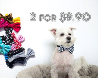 2-Pieces Bundle Dog Bow Tie