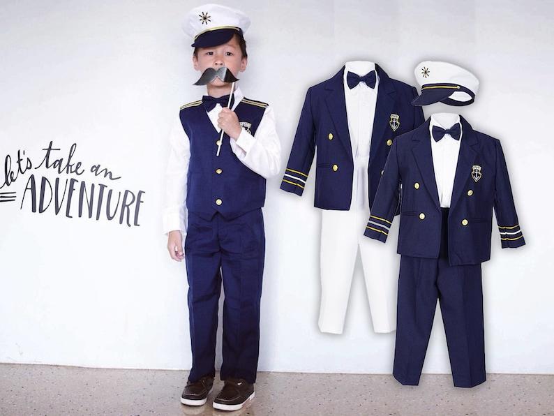199a761de81a Boys Nautical Marine Captain 5 pieces Suit with Navy Jacket or