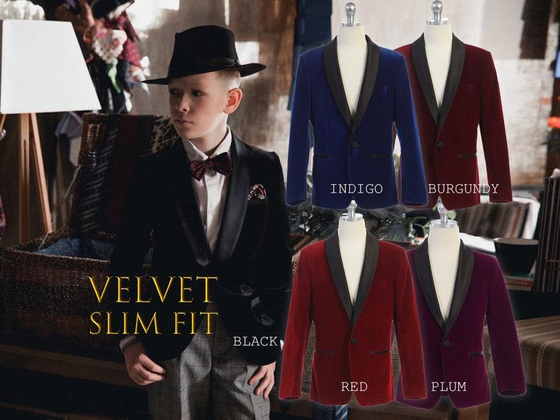 0d1633eebb2fb2 Little to Big Boy Slim Fit Premium Velvet Suit Blazer Black   Etsy