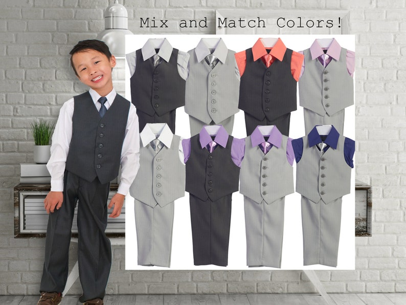 51bff99e9745 Boys Gray Vest Suit 4-Piece Set Shirt in White Silver Pink | Etsy