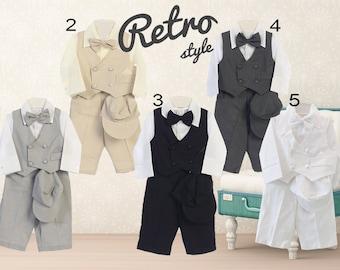 Baby Boy Retro Newsboy 5 piece Natural Linen Vest Suit Set, Gray Beige Black Charcoal White, Baptism Christening Wedding Ring Bearer