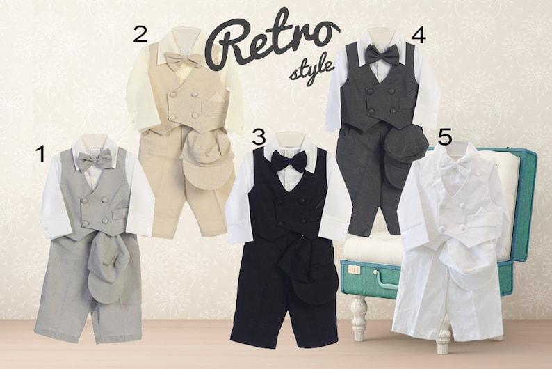 Baby Boy Retro Newsboy 5 piece Natural Linen Vest Suit Set Charcoal