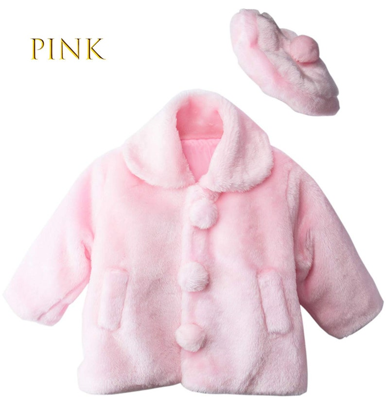Pink White Ivory 1-5 Toddler to Girl Cute Faux Fur Bolero Coat Jacket with Pompom Beret Hat
