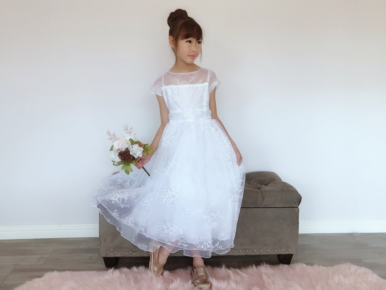39d5620e Girls White Organza Tulle Glitter Sequins Floral Embroidery   Etsy