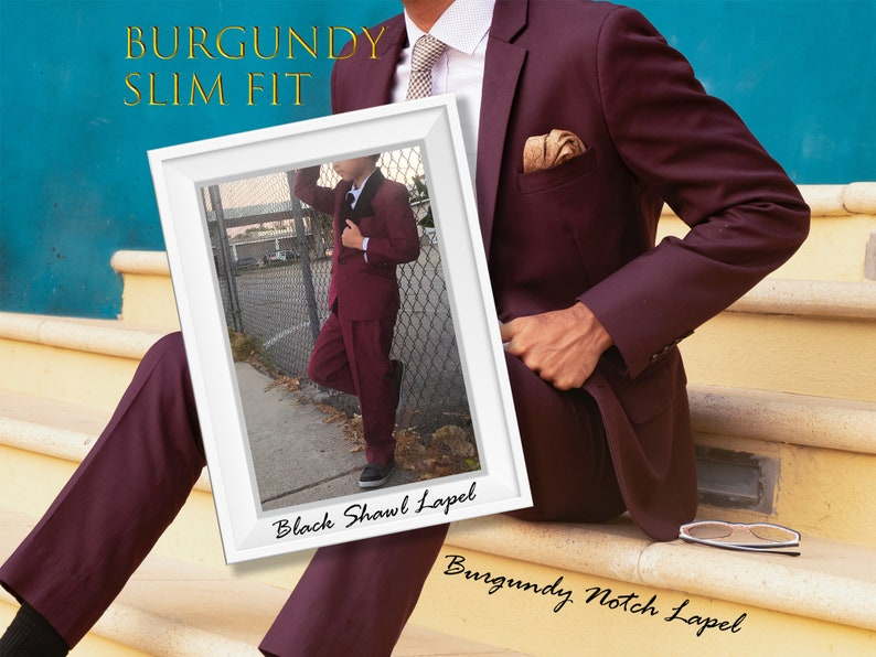9fbf4bd5297c53 Little to Big Boy 7-Piece Slim Fit Suit and Tuxedo Burgundy   Etsy