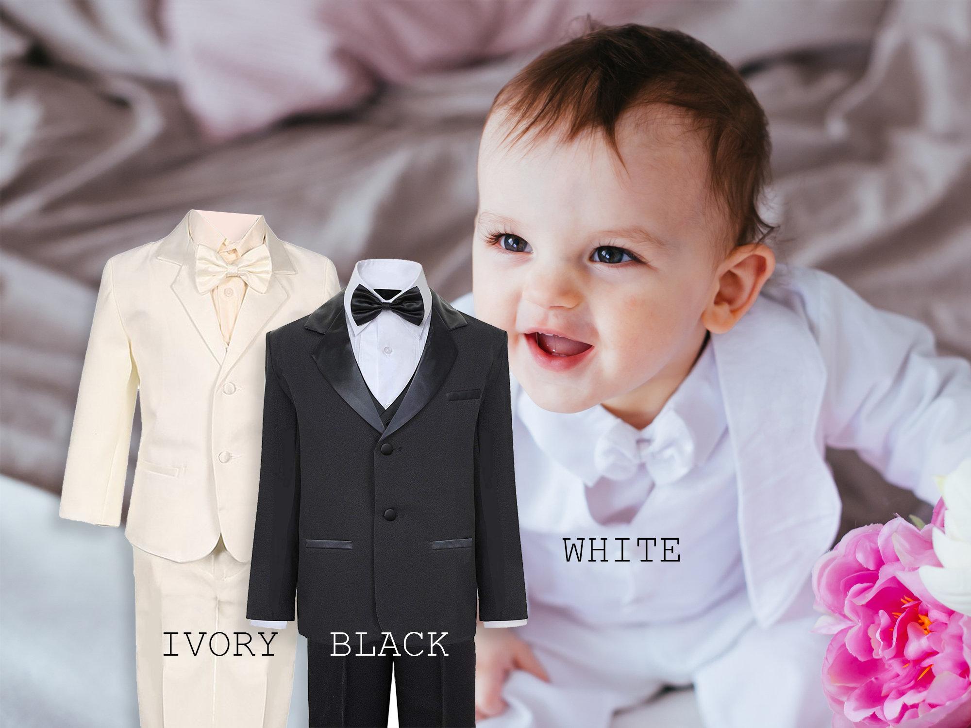 10156cdc3 Baby to Little Boy 5-Piece Regular Tuxedo Satin Lapel Black   Etsy