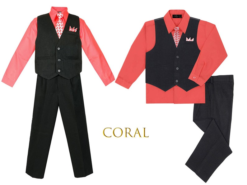6m-20 Burgundy Coral Baby to Teen Black Pinstripe Red Vest 5 Piece Set with Pants Shirt Tie Hanky Hot Pink Wedding Ring Bearer