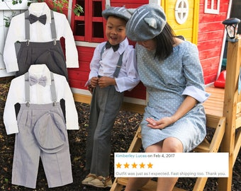 Toddlers to Boys Retro 5 piece Linen Suit, pants bowtie shirt hat suspender, light and dark gray, wedding ring bearer birthday party