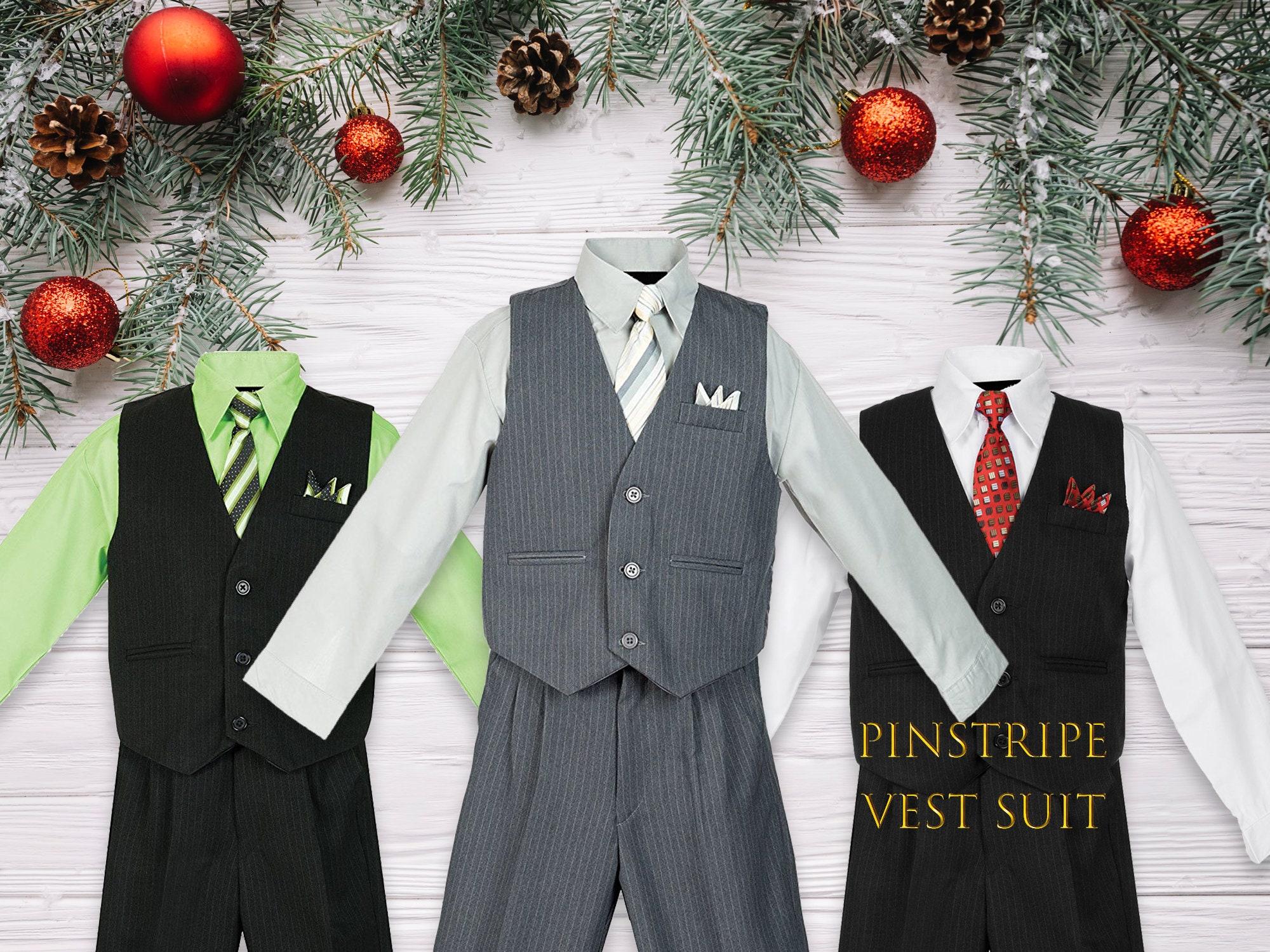 6b88c1e5937a Babies to Big Boys Pinstripe Vest 4-Piece Suit Set with Pants