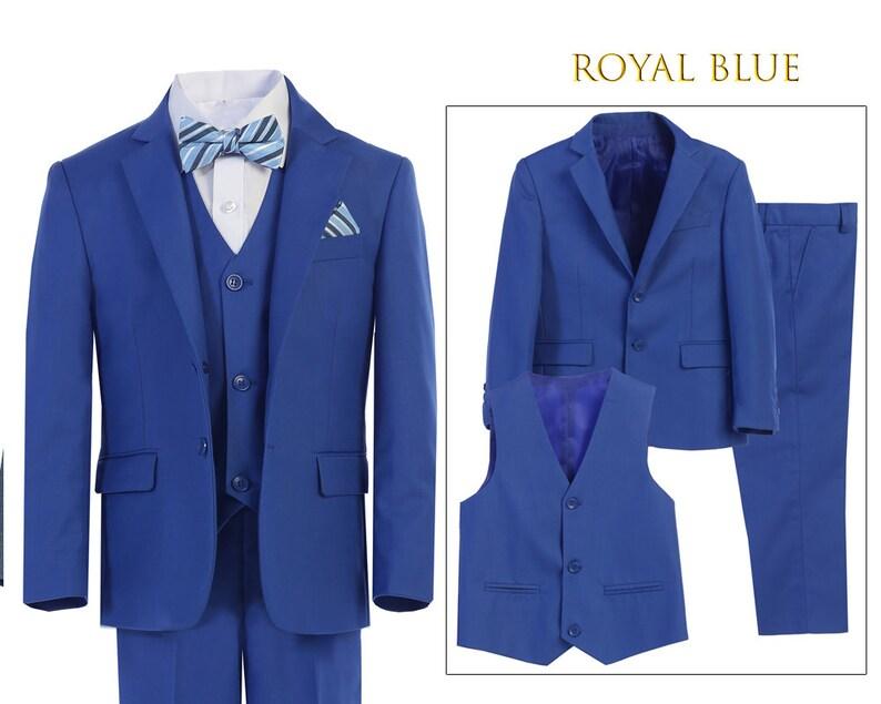 26a122e4e208a2 Little to Big Boy Slim Fit 7-Piece Blue Suit Royal Blue | Etsy
