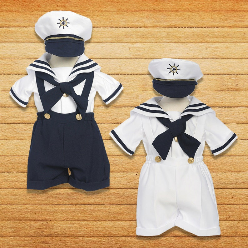 9d9987ab1 Baby to Little Boys Nautical Marine Sailor 5 piece Suit, Shorts, Cap,  Suspender, Crossover Tie, Shirt, Birthday Party, Size 6m - 5