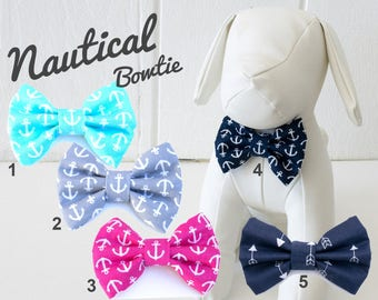 Nautical Dog Bow Tie, blue, navy, anchor