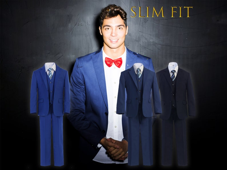 b8153e4b27fede Little to Big Boy Slim Fit Premium 7-Piece American Suit | Etsy