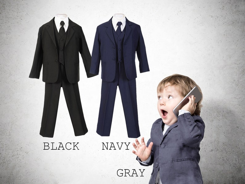 de3d3bfc32c4 Baby to Little Boy 5-Piece Suit Tuxedo Black Navy Platinum