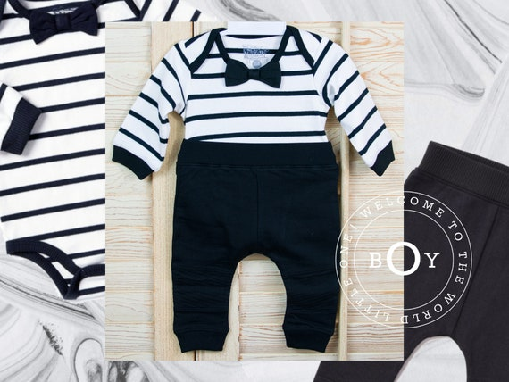 06e69902990b Baby Boy Formal Bodysuit Onesie and Black Biker Jogger Black