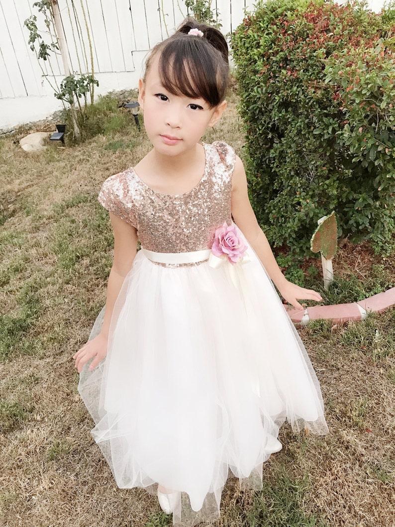 9301e18d157 Babies to Big Girls Sparkle Sequins Tulle Sleeve Tea Length