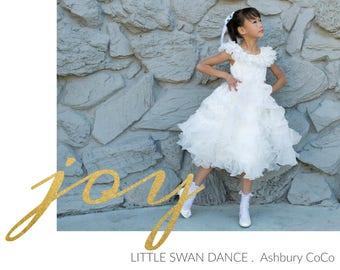 Girl Swan Dance Layered Ruffles Tea Length White Organza Dress Ball Gown, Pageant, Wedding Flower Girl, Baptism, Christening, Communion