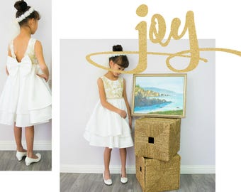 Girl White Gold Bridal Satin Ruffles Flower Lace Dress Gown, Wedding Flower Girl, Special Occasion