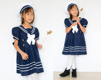 Toddler and Girl Nautical Marine Sailor Dress Costume with Hat, Halloween Birthday