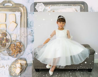 Girl Premium White Tulle Hi-Low Long Dress Gown Sweep Train, Lace Sleeves, Wedding Flower Girl, Special Occasion, Christening, Communion