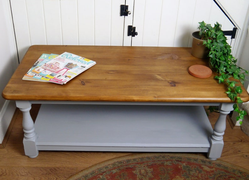 Solid Pine Coffee Table.Sold Large Solid Pine Coffee Table Soft Grey With Dark Waxed Top