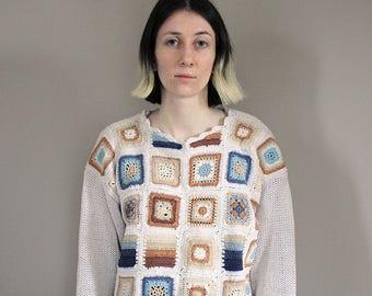 Vintage Kraftwork Granny Square Crochet Off White Jumper - Free Size