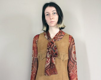 Vintage 70s Tan Suede 'Wapiti' Mini Dress with Fringing - Extra Small/Small
