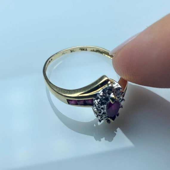 10K Gold Ruby and Diamond Vintage Ring * Ruby Dia… - image 7