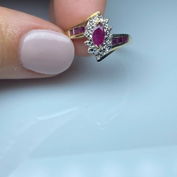 10K Gold Ruby and Diamond Vintage Ring * Ruby Dia… - image 3