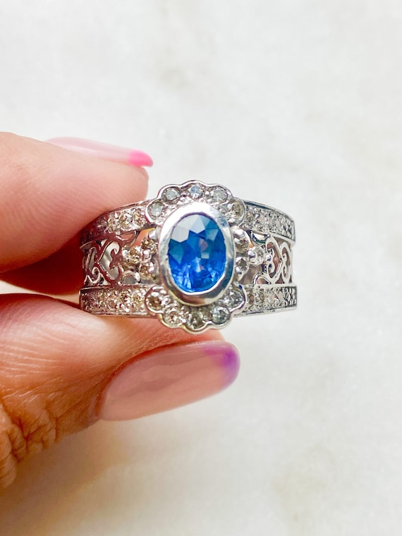 14k Gold Blue Sapphire And Diamond Ring * Vintage