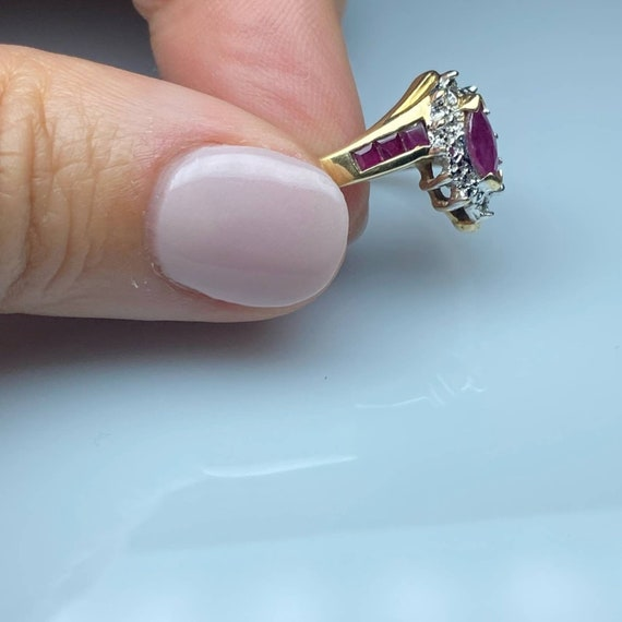 10K Gold Ruby and Diamond Vintage Ring * Ruby Dia… - image 4