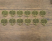 20 Heart-Tree Charms,Antique Bronze Tone-RS873