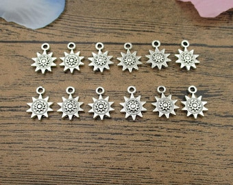 20 Sun Charms,Antique Silver Tone Double Sideed-RS809