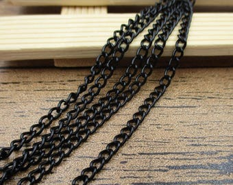 12Ft Length Chains-2.5x3.5mm,Chain for Jewelry Making,Bulk Chains,Black Color-CS043