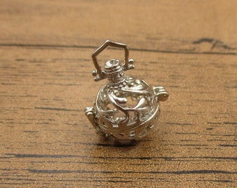 1 Cage Locket,Filigree Cage Pendant(Fitting 12mm Beads) Antique Silver Tone-TS282