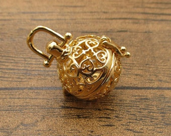 1 Cage Locket,Filigree Cage Pendant(Fitting 14-16mm Beads) KC Gold-TS270