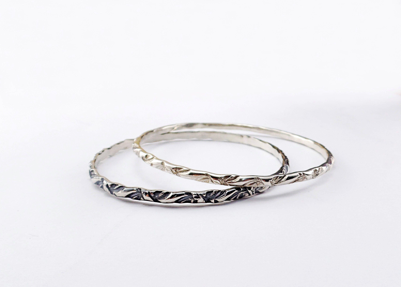 Personalised bangle Stackable silver bangle 6mm Silver bangle Bridesmaids gift Love message bangle Heavy single bangle
