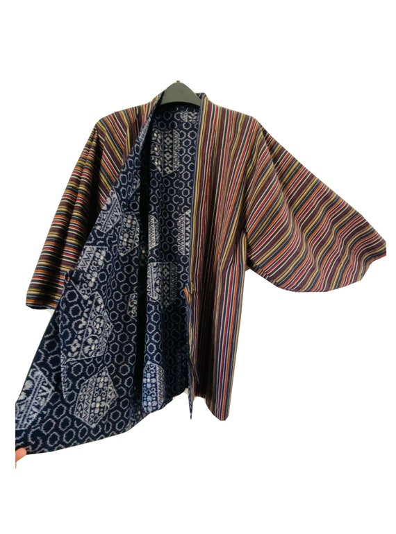 Vintage Japanese Haori Kimono Womens Wool Kasuri Ikat  Cardigan Jacket Dark Blue