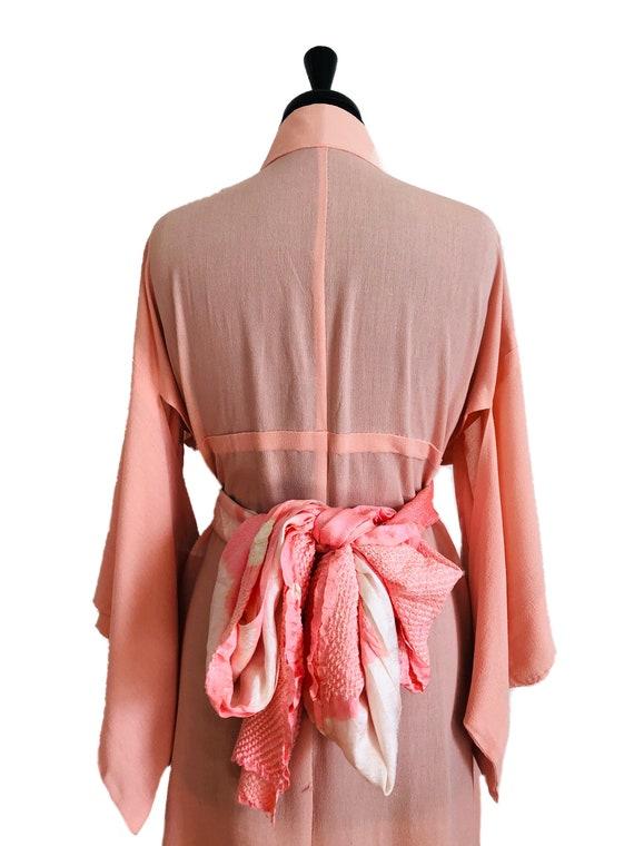 Pink Crepe silk vintage kimono robe
