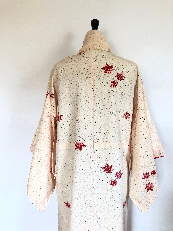 50b3d6328c4f Kimono vintage beige Bordeaux. et Bordeaux. beige Robe kimono, kimono  japonais, robe