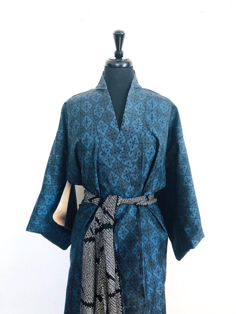 Blue Vintage Oshima Tsumugi kimono
