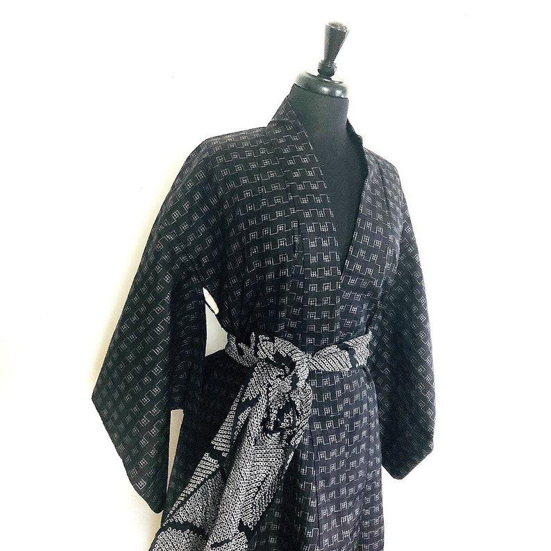 Vintage Tsumugi kimono robe