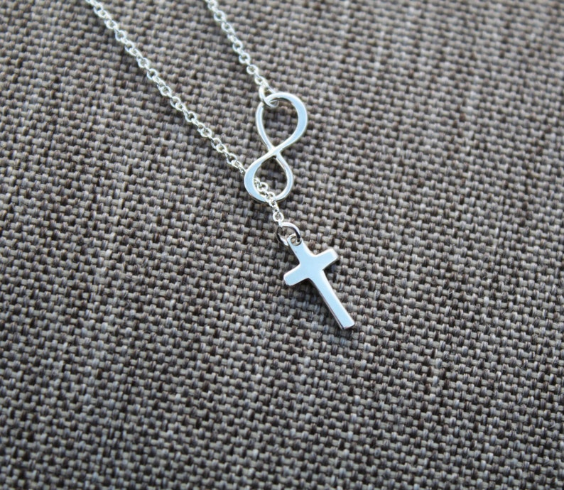 925 Sterling Silver cross necklace  Small Infinity Cross Lariat necklace  Infinity cross lariat Y necklace  Cross Necklace