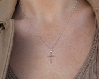 Cross Necklace / Silver Cross Pendant Necklace / 925 Sterling Silver Necklace / Cross Jewelry
