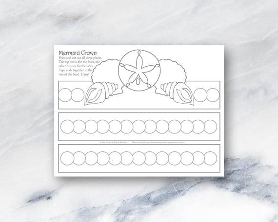 Mermaid Crown Coloring Page Printable Instant Etsy