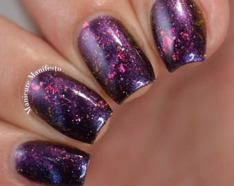 NEBULA, purple pink magnetic multichrome indie nail polish lacquer by Paint it Pretty Polish