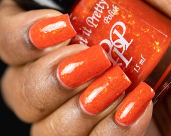 AUTUMN AMBIANCE, orange jelly flakie indie nail polish by Paint it Pretty Polish