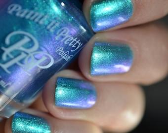 SPOOKY SHOES, Blue shimmer nail polish, lacquer, indie nail polish, Paint it Pretty Polish