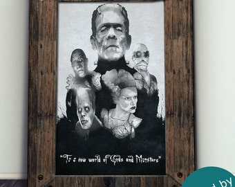 Universal Classic Monsters Art Print- Limited - Signed By Artist