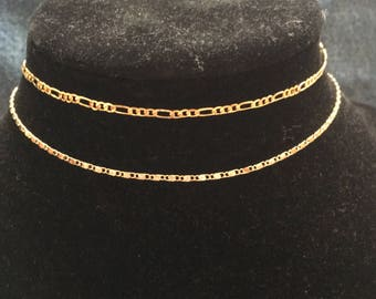 CHOKER//2 Peice Set// 2 Gold Chain Chokers// Thin Gold Chain Vintage Style Chokers// Free Shipping & Gift!!!